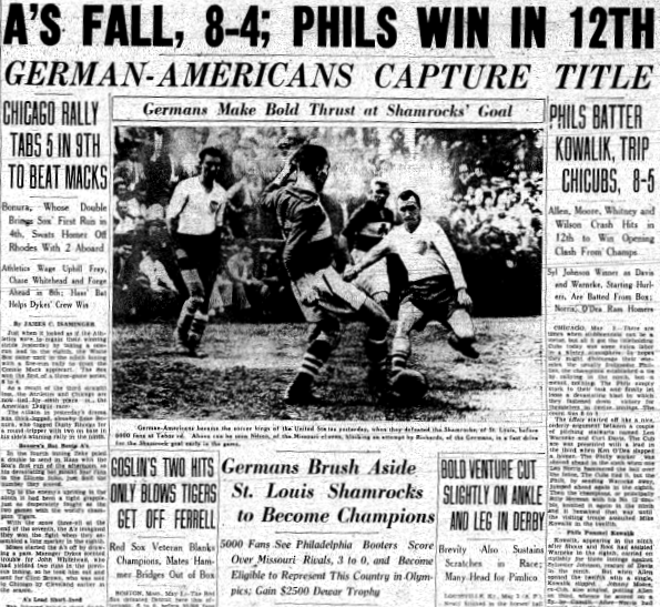 Philadelphia German Americans win 1936 National Challenge Cup. From the May 4, 1936 edition of the Philadelphia Inquirer.